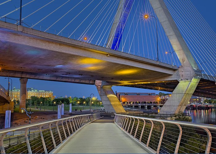 Boston Greeting Card featuring the photograph Paul Revere Park And The Zakim Bridge by Susan Candelario