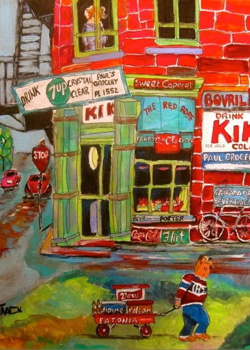 Paul's Grocery Greeting Card featuring the painting Paul's Grocery Montreal by Michael Litvack