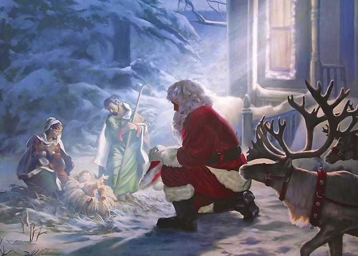 Santa Paying Homage Greeting Card For Sale By Danny Hahlbohm
