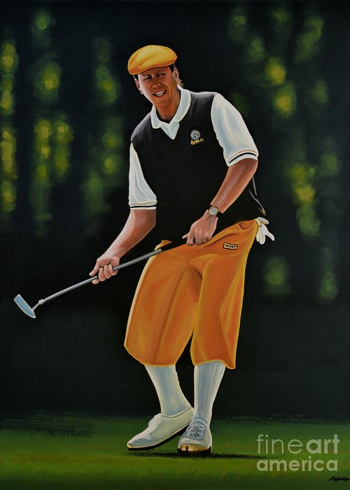 Payne Stewart Greeting Card featuring the painting Payne Stewart by Paul Meijering