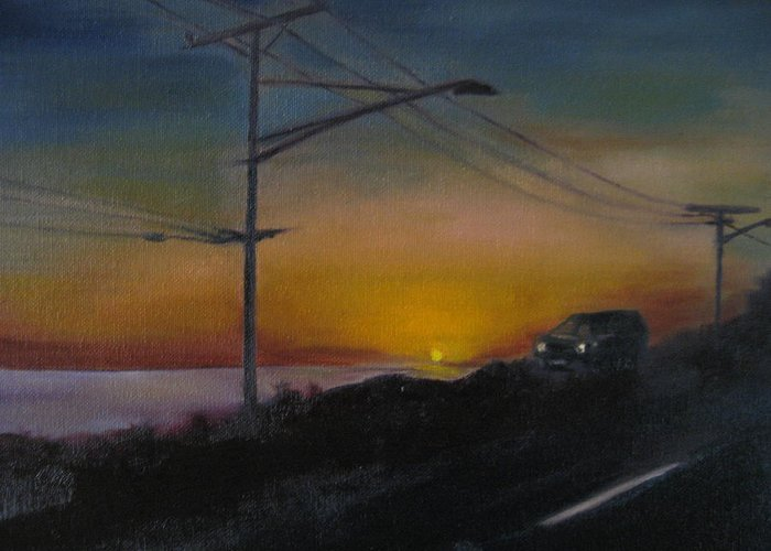 Pacific Coast Highway Greeting Card featuring the painting Pch At Night by Lindsay Frost