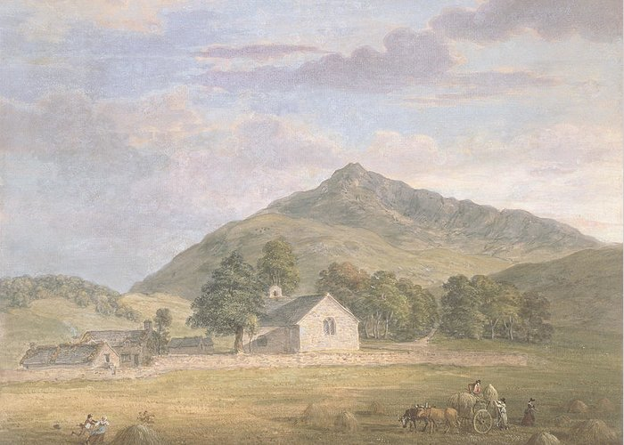Welsh Greeting Card featuring the painting Haymaking At Dolwyddelan by Paul Sandby