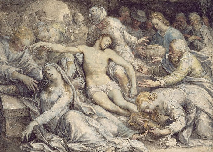 Lamentation Greeting Card featuring the painting The Lamentation Over The Dead by Isaac Oliver