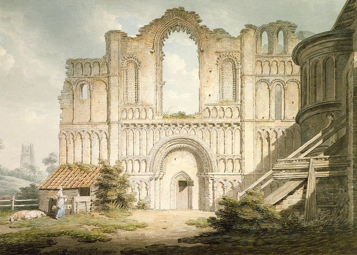 Ruin Greeting Card featuring the drawing Pd.56-1958 West Front Of Castle Acre by Edward Dayes