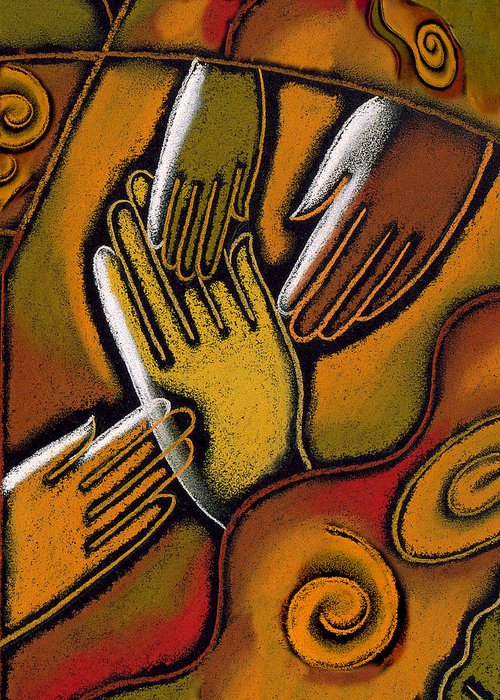 African Ethnicity Asian Ethnicity Caucasian Color Image Community Concept Diversity Four People Friend Hand Harmony Hope Identity Illustration Illustration And Painting Individuality Latin American And Hispanic Ethnicity Multi-ethnic Group Peace People Together Tranquil Scene Vertical Watercolor World Peace African American Anticipation Asian Calm Close-up Color Colour Drawing Four Friendship Hispanic Jointly Painting Person Personality Rapport Tranquility Variety Western European Art Painting Greeting Card featuring the painting Peace by Leon Zernitsky