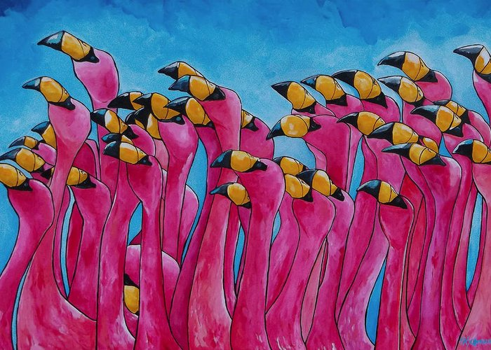 Flamingos Greeting Card featuring the painting Peace Love And Flamingos by Patti Schermerhorn