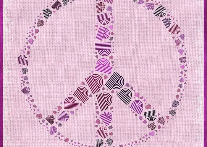 Mauve Greeting Card featuring the digital art Peace Symbol Design - 42ct2b by Variance Collections