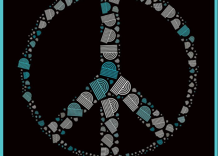 Black Greeting Card featuring the digital art Peace Symbol Design - 87d by Variance Collections