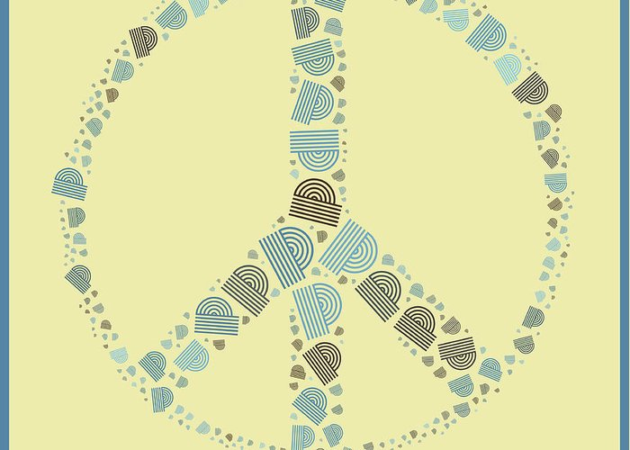 Yellow Greeting Card featuring the digital art Peace Symbol Design - Y87d by Variance Collections