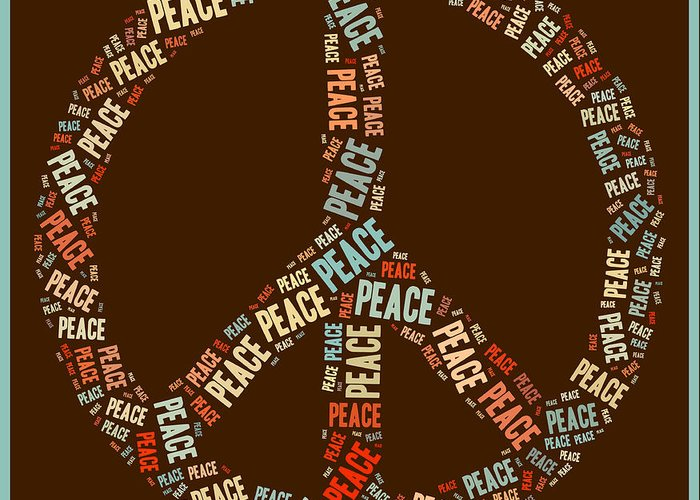 Peace Greeting Card featuring the digital art Peace Symbol Retro - 0103b by Variance Collections