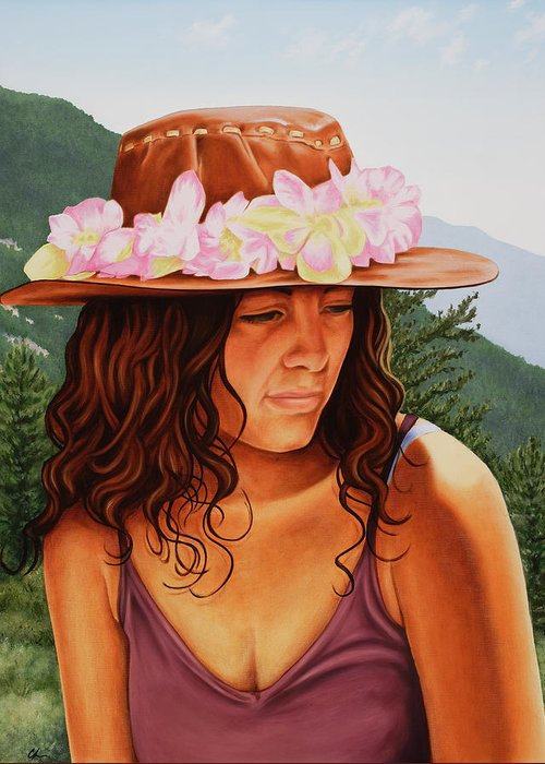 Realistic Greeting Card featuring the painting Peaceful Nature by Charles Luna