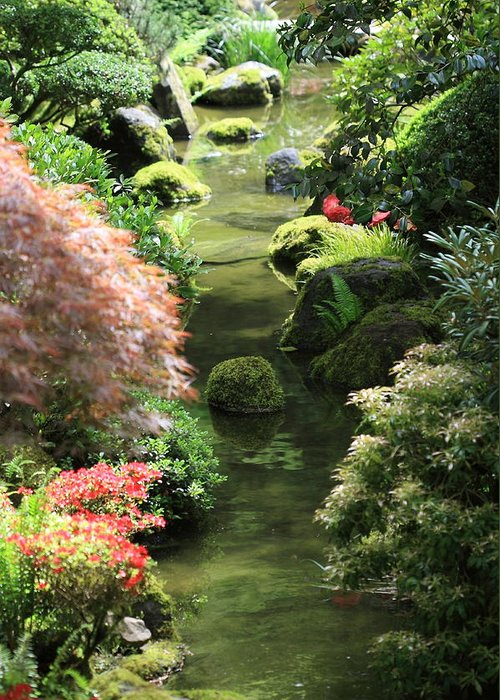 Japanese Garden Greeting Card featuring the photograph Peaceful River by Carrie Warlaumont