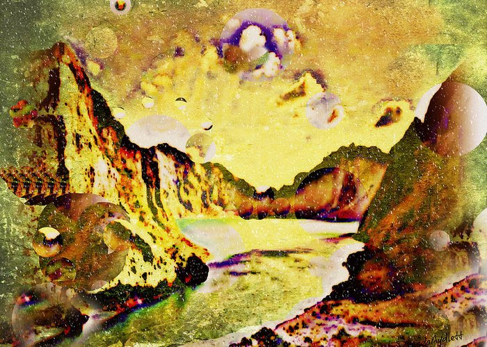 Fantasy Scape Greeting Card featuring the mixed media Peaceful Secret by YoMamaBird Rhonda