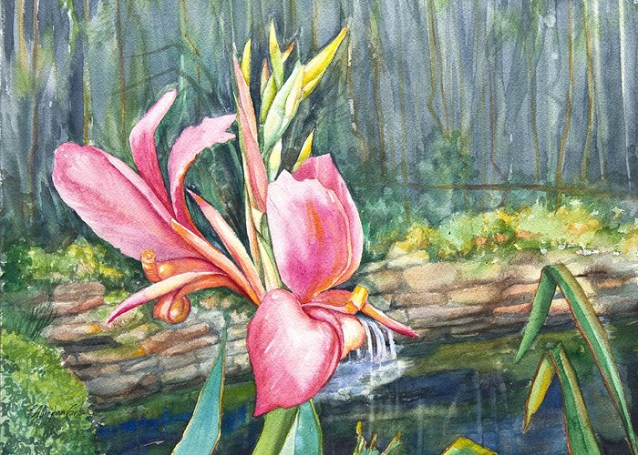 Pallinghamcarlson Greeting Card featuring the painting Peach Canna By The Pond by Patricia Allingham Carlson
