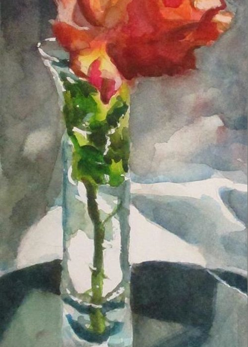Rose Greeting Card featuring the painting Rose In The Clear by Judith Scull