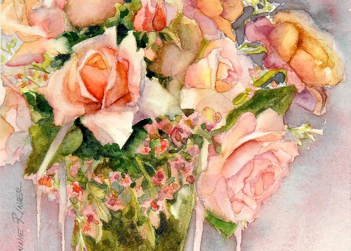 Antique Roses Vase Greeting Cards
