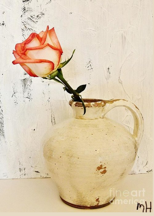 Photo Greeting Card featuring the photograph Peach Trim Rose In Pottery by Marsha Heiken