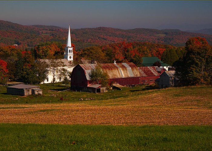 Fall Foliage Greeting Card featuring the photograph Peacham Vermont by Andy Richards