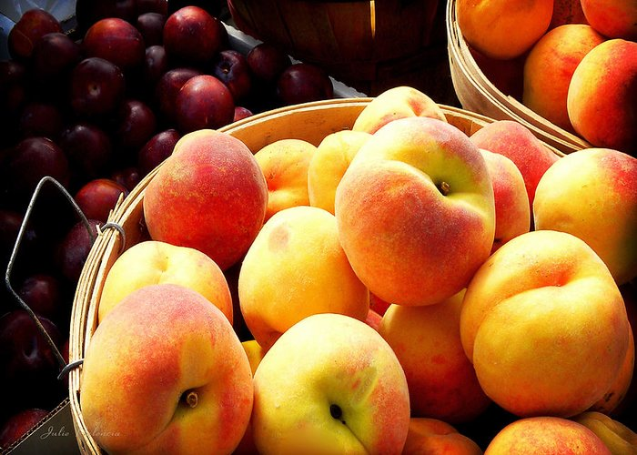 Organic Greeting Card featuring the photograph Peaches And Plums Farmers Market by Julie Palencia