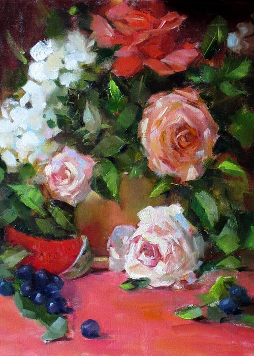 Original Oil Painting Greeting Card featuring the painting Peachy by Chris Saper