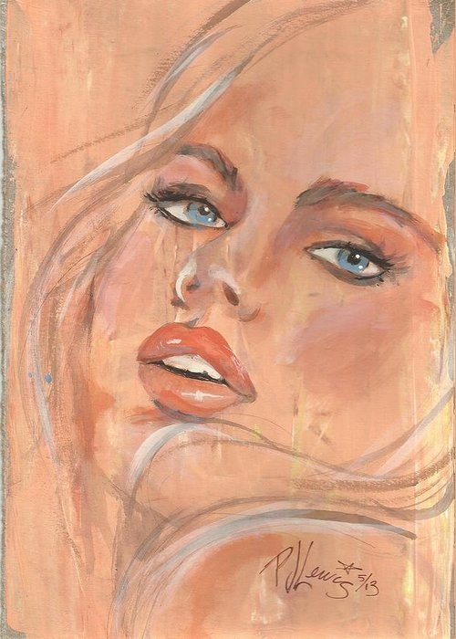 Peach Color Greeting Card featuring the painting Peachy by PJ Lewis
