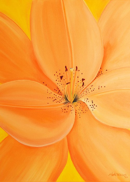 Balloon Flower Greeting Card featuring the painting Peachy Summer by Maria Williams