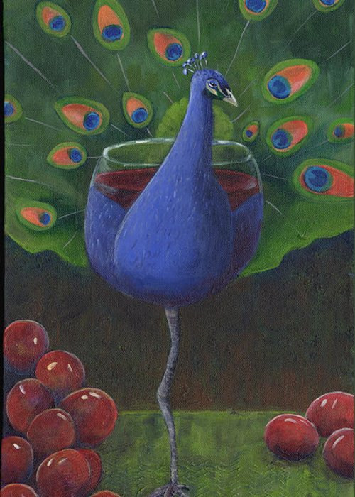 Peacock Greeting Card featuring the painting Peacock Pinot by Debbie McCulley