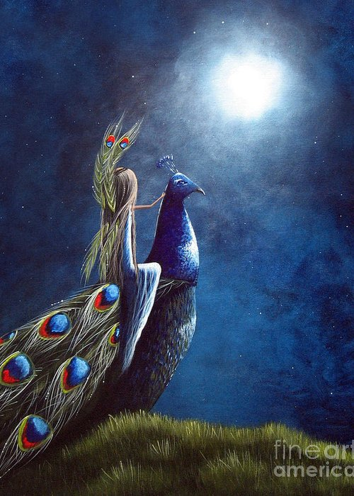Peacocks Greeting Card featuring the painting Peacock Princess II By Shawna Erback by Shawna Erback