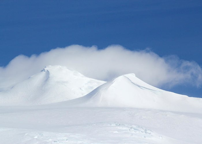 Ice Greeting Card featuring the photograph Peaks In The Clouds by Ginny Barklow