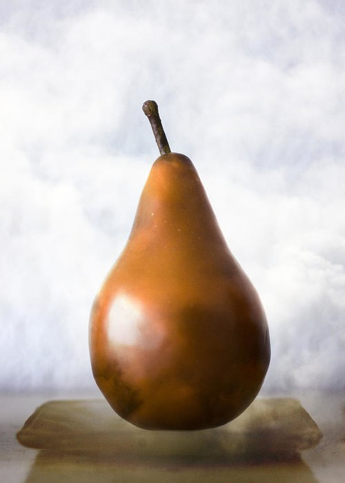Pear Greeting Card featuring the photograph Pear In The Clouds by Carol Leigh
