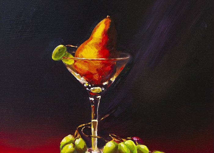 Still Life Greeting Card featuring the painting Pear Martini by David Gorski