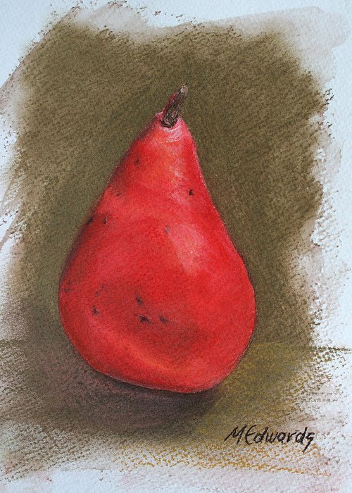 Red Pear Greeting Card featuring the pastel Pear Study 2 by Marna Edwards Flavell
