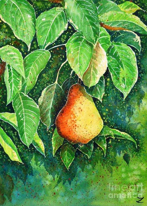 Pear Greeting Card featuring the painting Pear by Zaira Dzhaubaeva