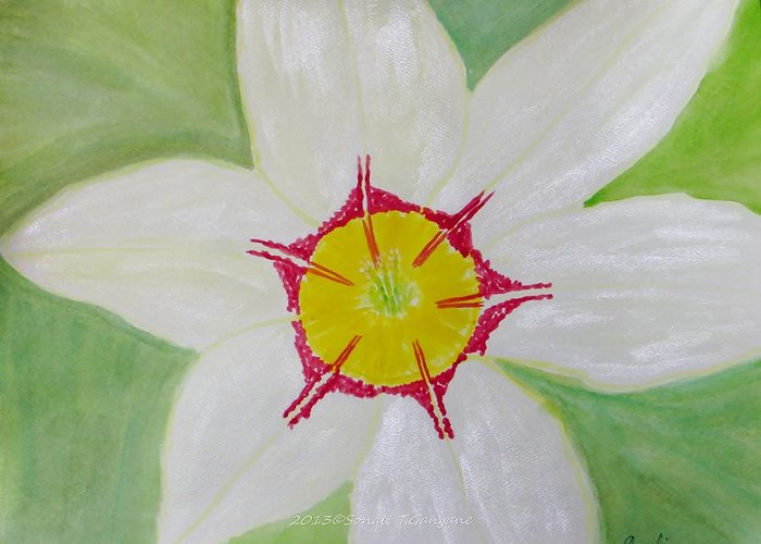 Pearl White Flower Greeting Card featuring the painting Pearl White Flower by Sonali Gangane