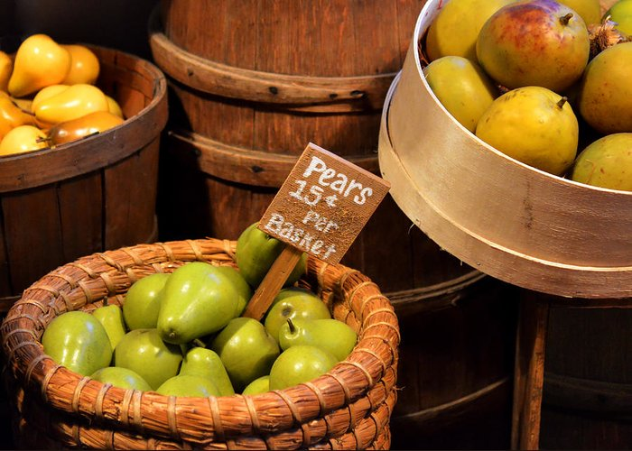 Pears Greeting Card featuring the photograph Pears - 15 Cents Per Basket by Christine Till