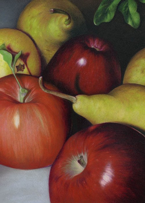 Fruits Greeting Card featuring the drawing Pears And Apples by Natasha Denger