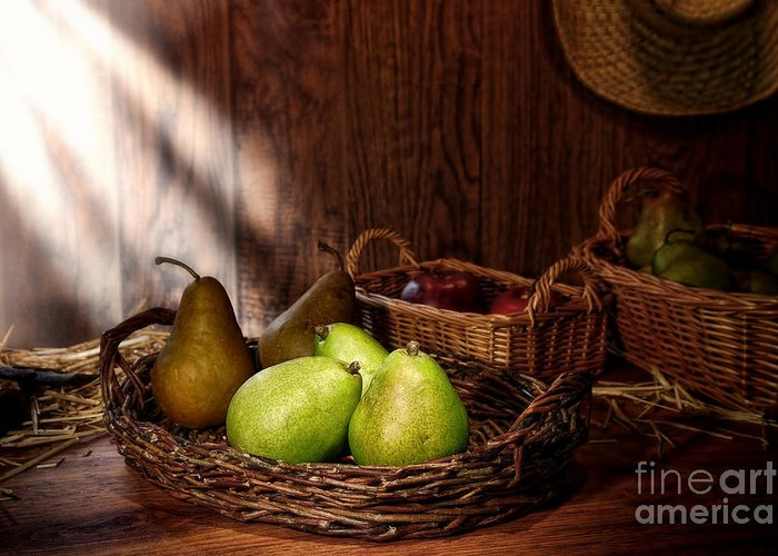 Pears Greeting Card featuring the photograph Pears At The Old Farm Market by Olivier Le Queinec