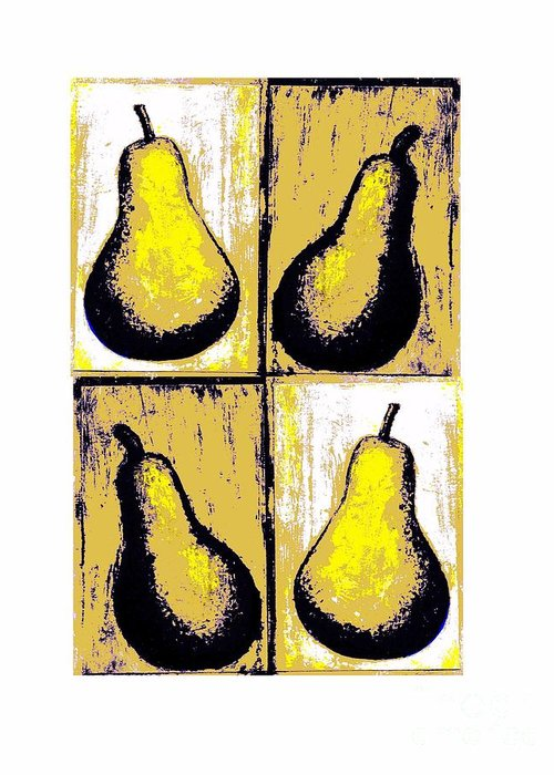 Pears Warhol Style Fruit Yellow Distressed Pointillism Pears Decorative Art Food Art Stylistic Shadows Stylized Painting Fruit Digitally Manipulated Painting Original Artwork Christine Fanous Fineartwithatwist Pears Quadratic Print Unique Food And Beverage Food Art Fruit Art Greeting Card featuring the painting Pears- Warhol Style by C Fanous