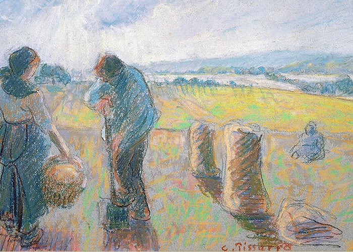 Agriculture Greeting Card featuring the pastel Peasants In The Fields by Camille Pissarro