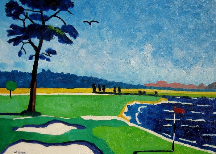 Golf Greeting Card featuring the painting Pebble Beach 18 California by Lesley Giles