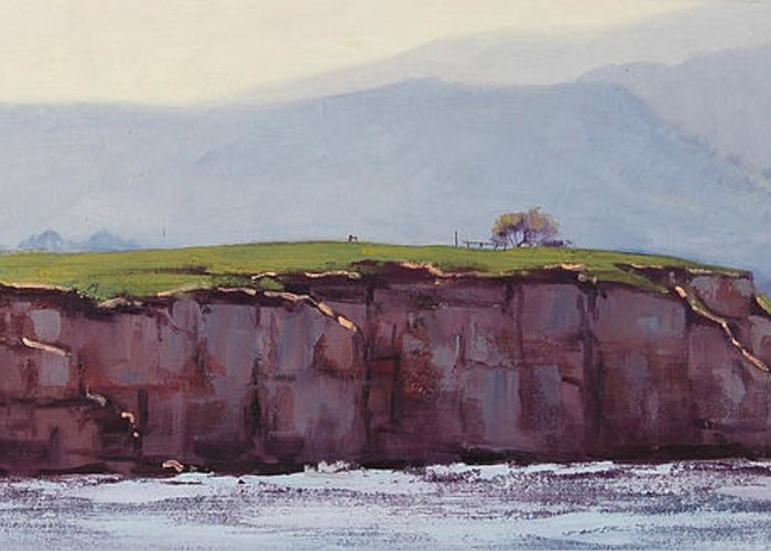 Pebble Greeting Card featuring the painting Pebble Beach California by Graham Gercken