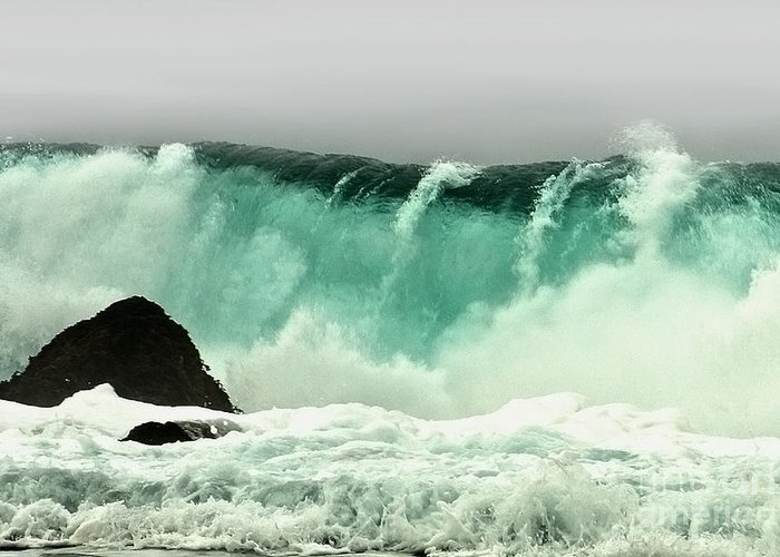 Crashing Wave Greeting Card featuring the photograph Pebble Beach Crashing Wave by Artist and Photographer Laura Wrede