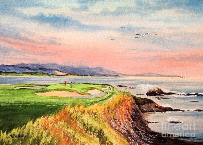 Golf Greeting Card featuring the painting Pebble Beach Golf Course Hole 7 by Bill Holkham