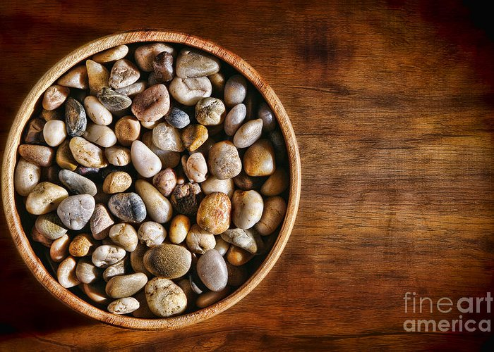 Pebbles Greeting Card featuring the photograph Pebbles In Wood Bowl by Olivier Le Queinec