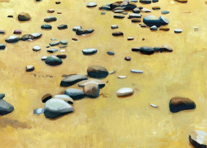 Nautical Greeting Card featuring the painting Pebbles On The Beach - Oil by Michelle Calkins