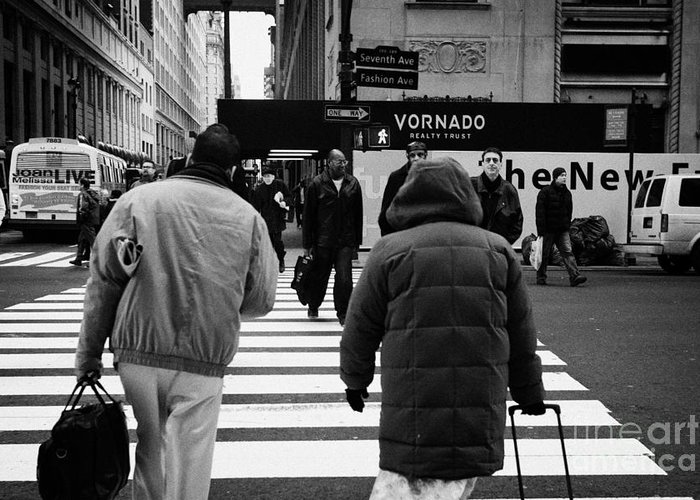 Usa Greeting Card featuring the photograph Pedestrians Crossing Crosswalk Carrying Luggage On Seventh 7th Ave Avenue by Joe Fox