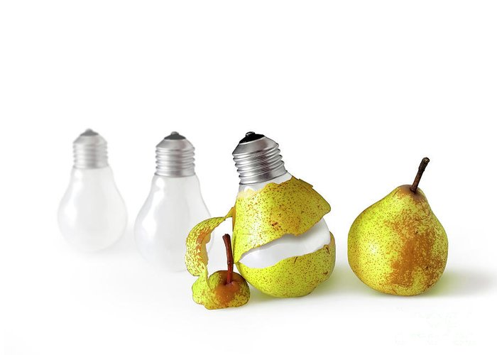 Pear Greeting Card featuring the photograph Peeled Bulb by Carlos Caetano