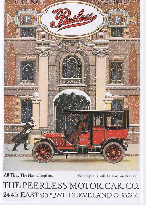 1910�s Greeting Card featuring the drawing Peerless 1910s Usa Cars Winter Snow by The Advertising Archives