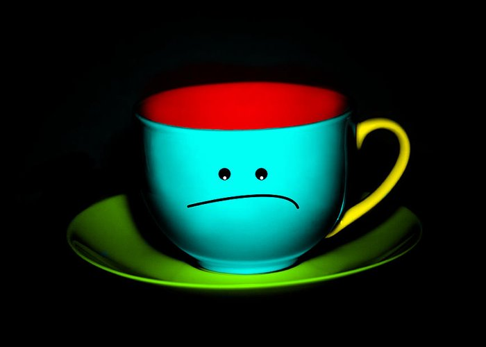 Teacup Greeting Card featuring the photograph Peeved Colorful Cup And Saucer by Natalie Kinnear