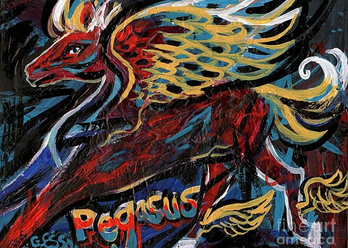 Pegasus Greeting Card featuring the painting Pegasus by Genevieve Esson